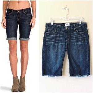 """PAIGE   """"Jax"""" long dark-wash raw hem denim shorts"""